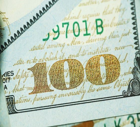 Close  up image of a $100 bill.