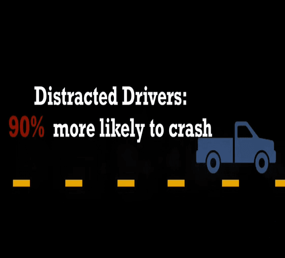 distracted drivers are 90% more likely to crash.